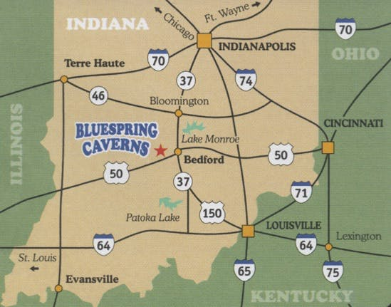 Bluespring Caverns Location Map