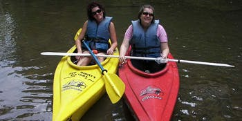 Two Happy Ladies in Kayaks