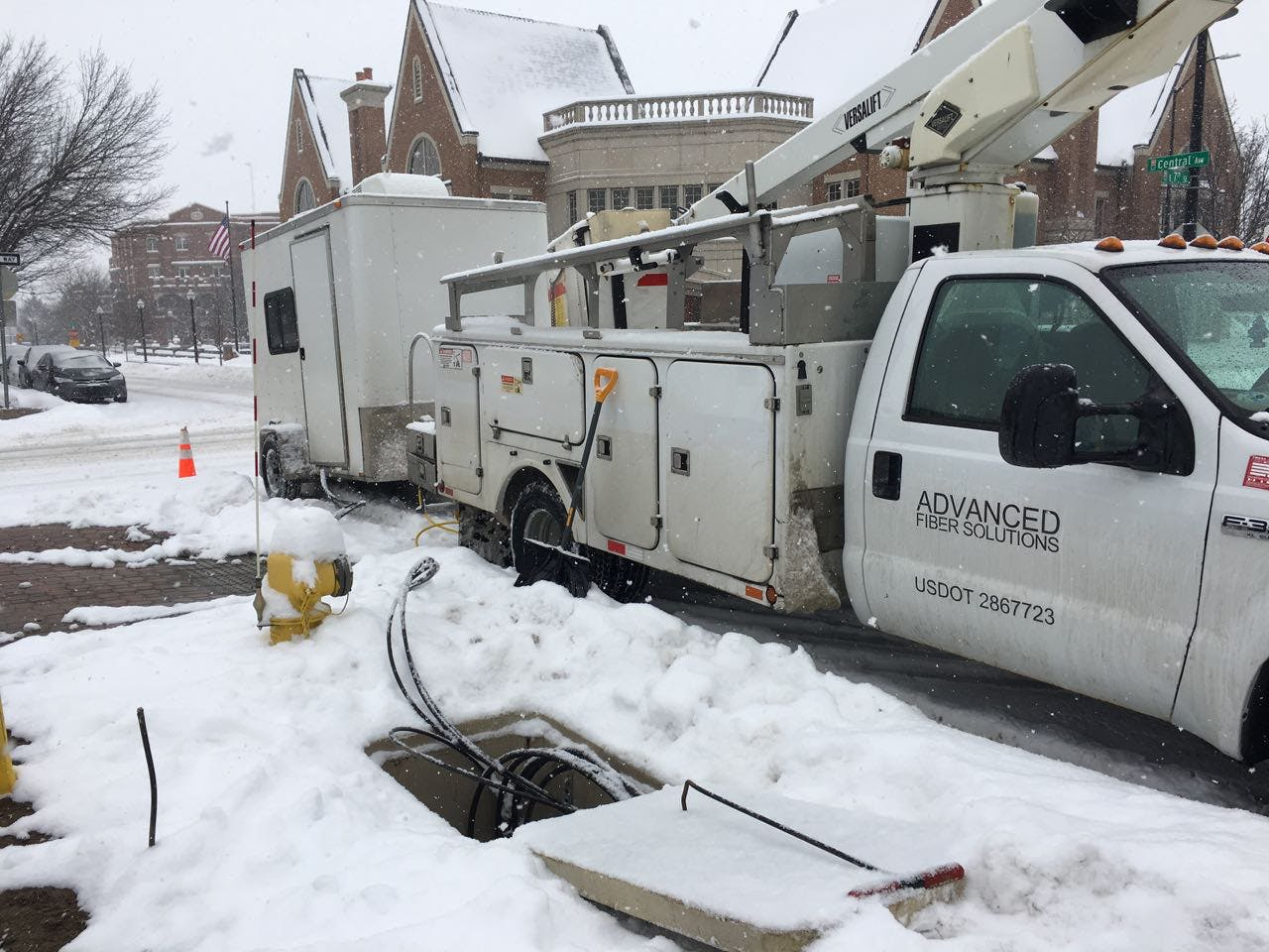 Splicing fiber in winter