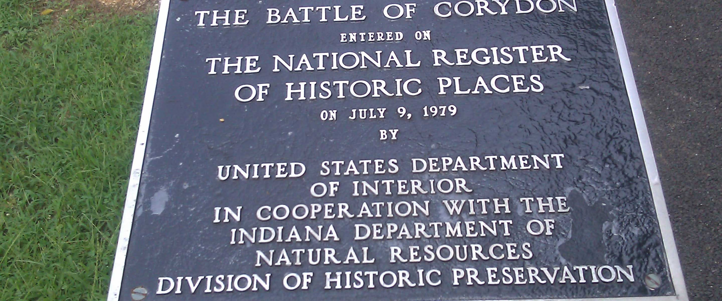 the front of the plaque at the Battle of Corydon Memorial Park