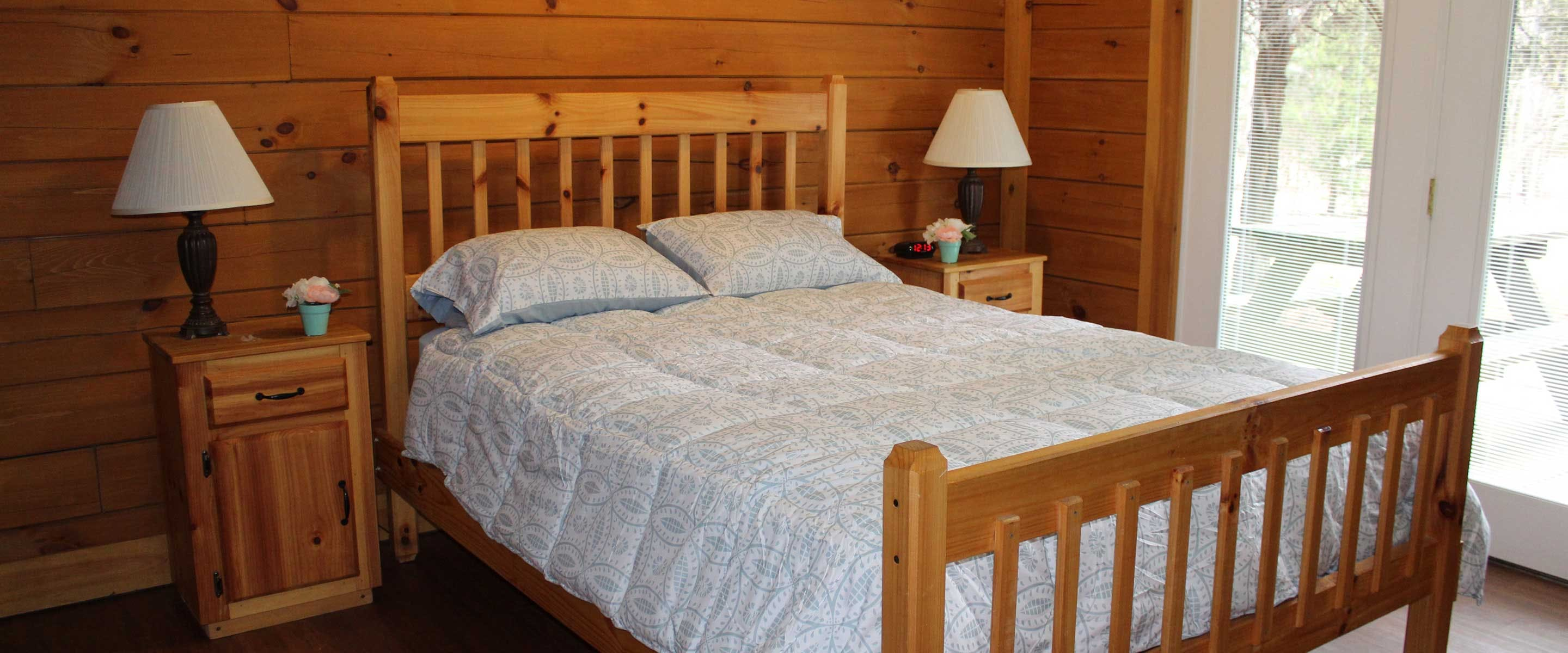 master bed in cabin