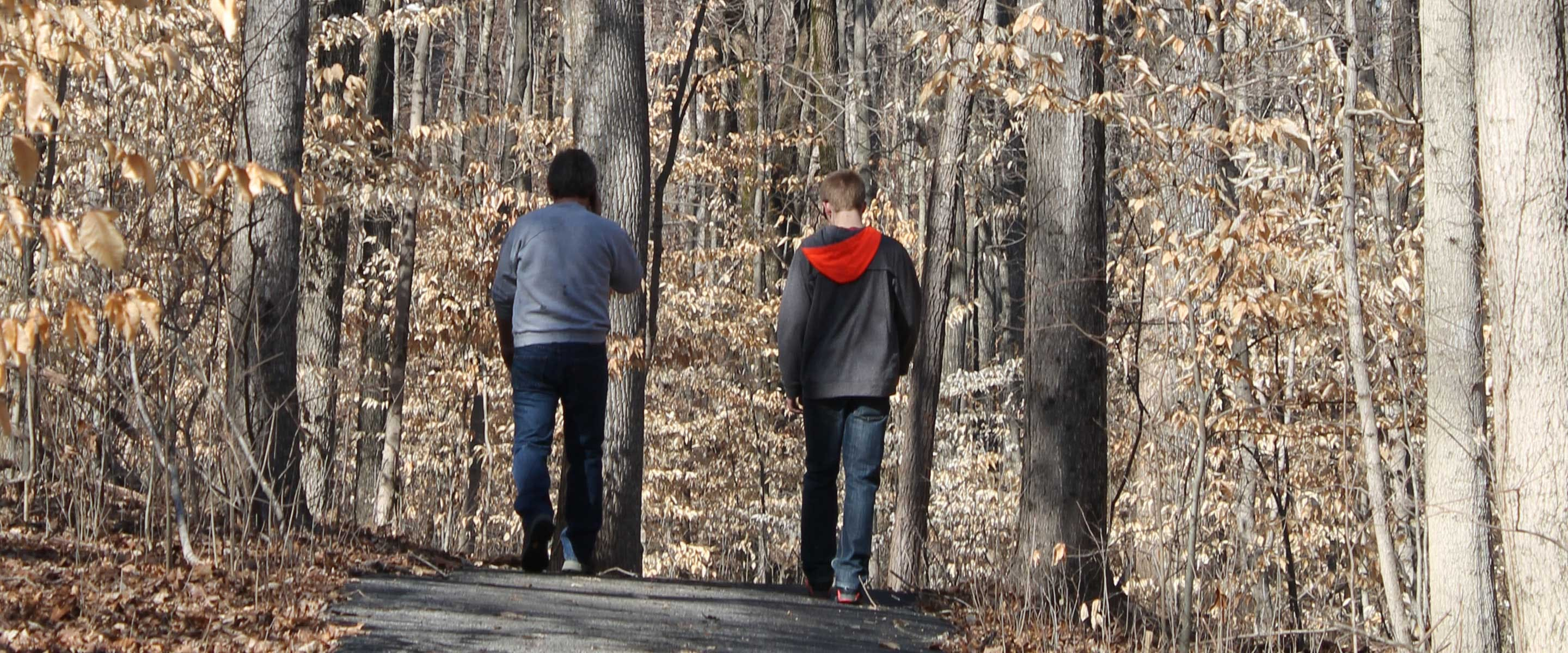 two men walking trail in the fall with leaves falling