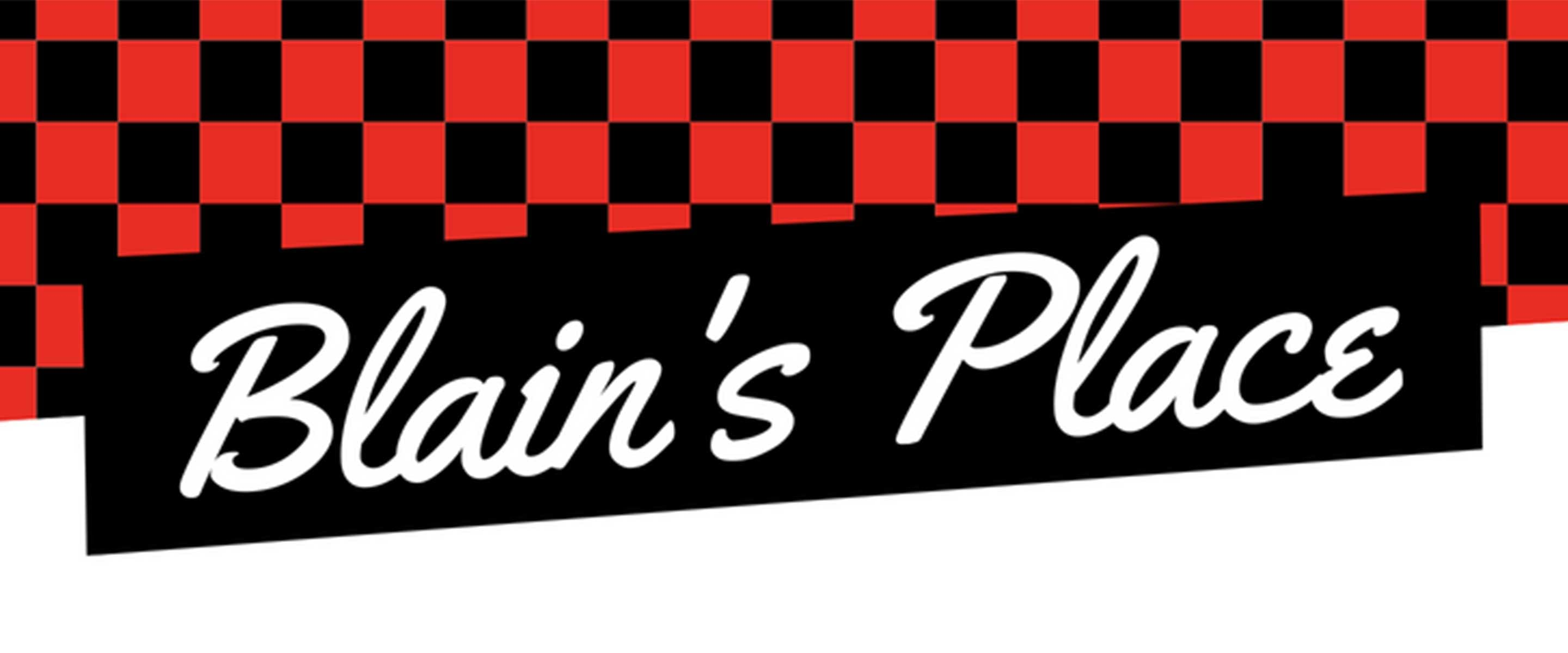 red and black checkered graphic for Blain's Place