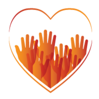 volunteer hands outstretched inside heart