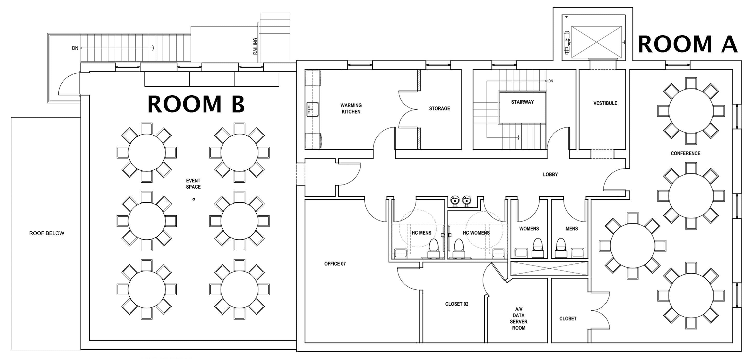 Layout of Rooms A and B