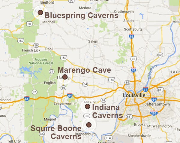 Indiana Cave Trail Map
