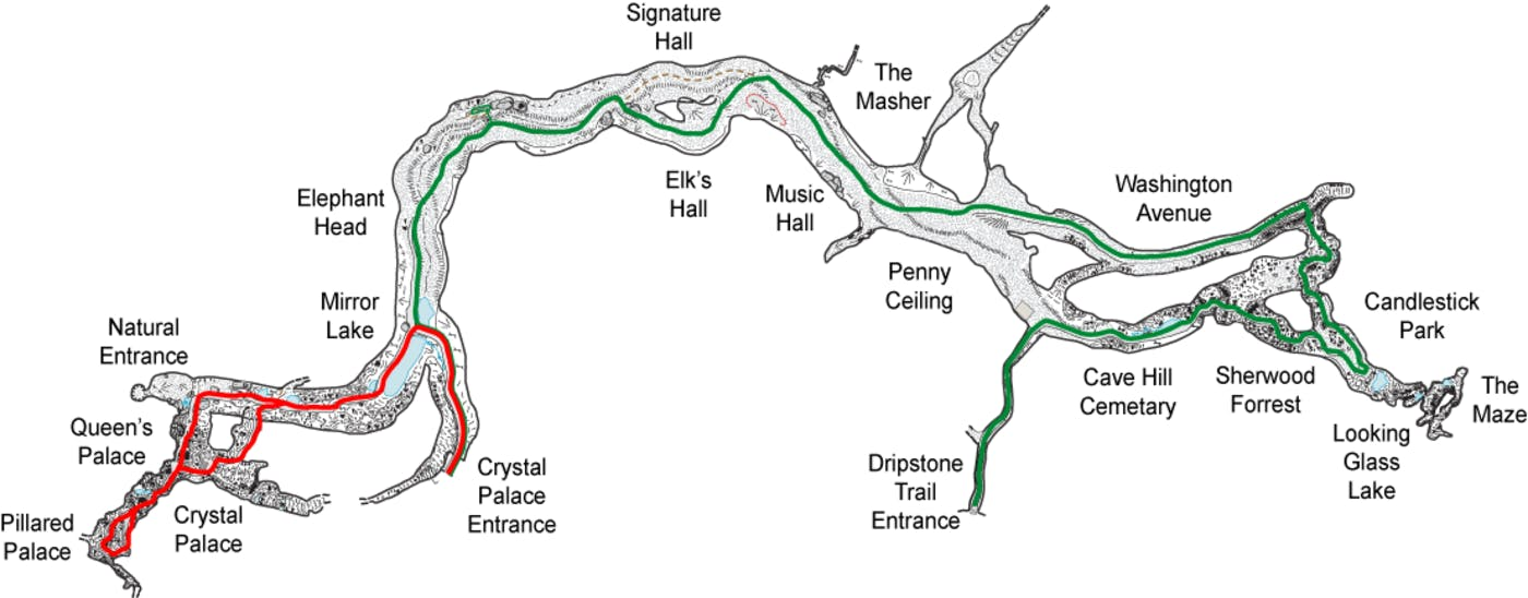 Marengo Cave Map of Both Walking Tours